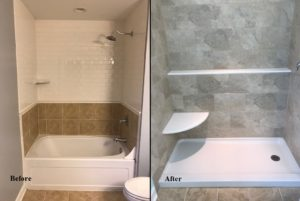 Before and after image of a shower remodel performed by Advantage Home Contracting